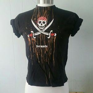 Tops - Bleached Bermuda Tshirt Tee custom altered pirate